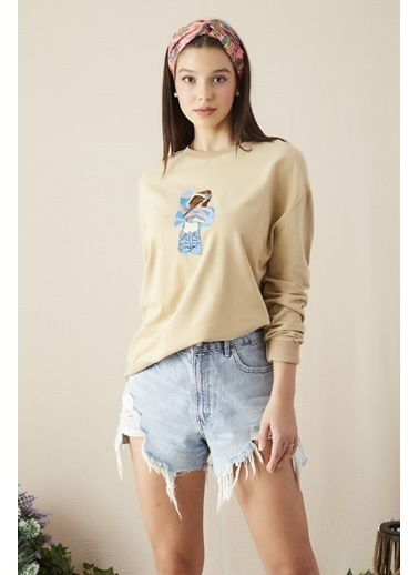 EKA Kız Nakış İşlemeli Sweatshirt Bej